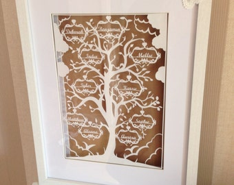 Family tree paper cutting template - 2 names