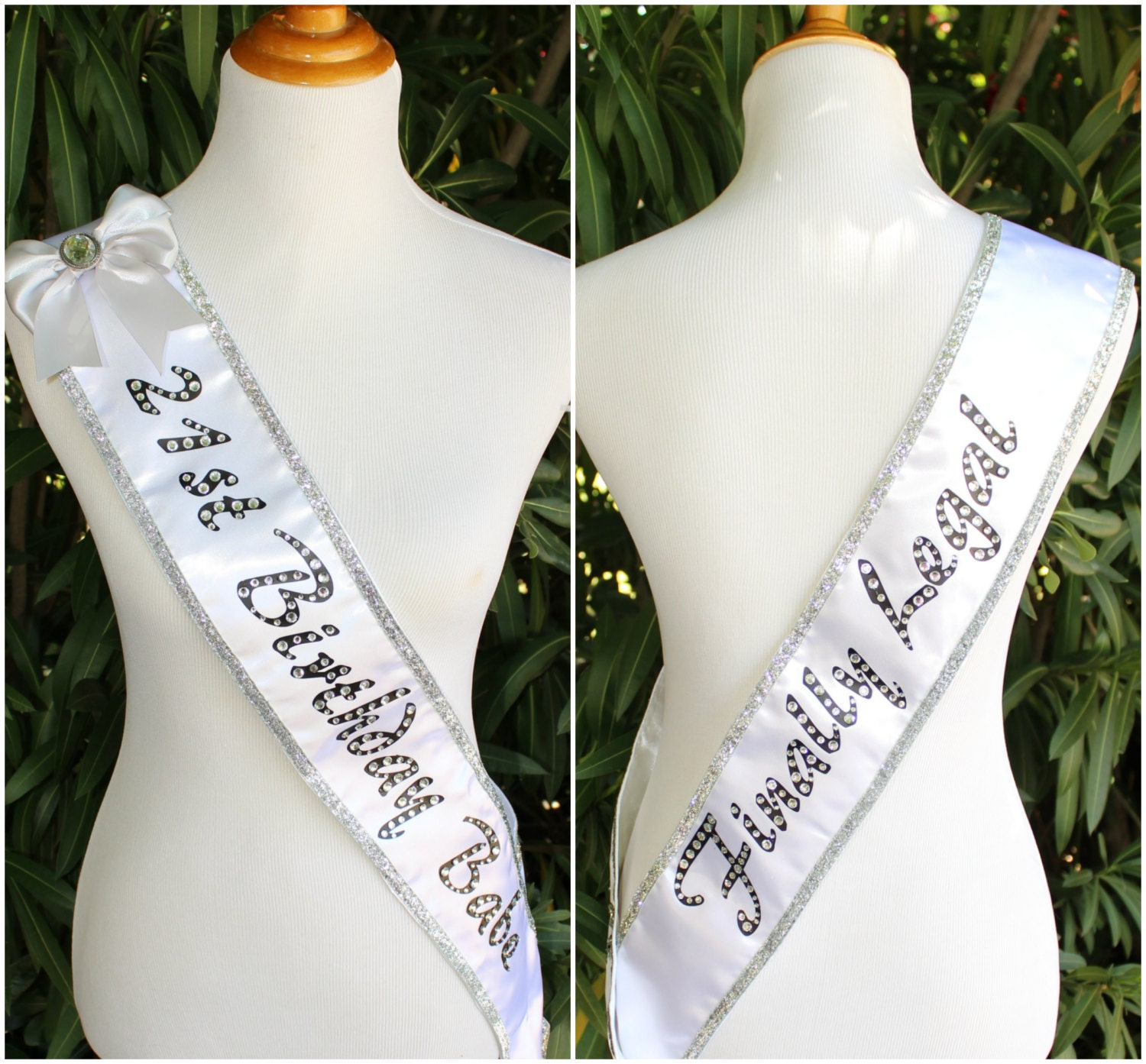 White And Silver 21st Birthday Babe Sash By