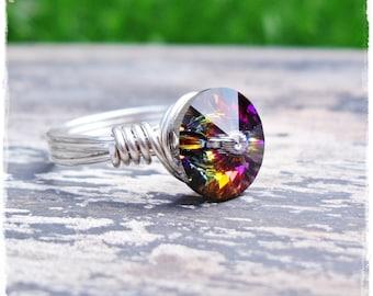 Sterling Silver Wire Wrapped Ring - Swarovski Volcano Rivoli Crystal