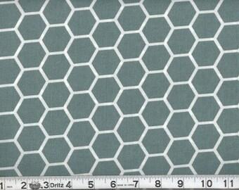 Fabric Honeycomb White on Spa Blue Hexagon Cotton 1 Yard