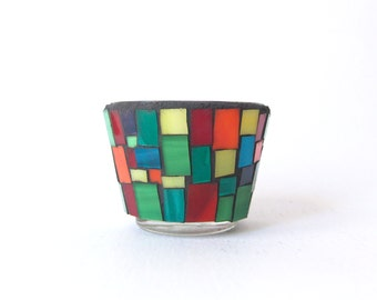 mosaic tealight holder, colorful stained glass tealight