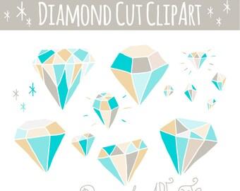 CLIP ART: Blue Diamonds //  Hand Drawn Diamond // Photoshop Brush Stamps // Digital Vector Design Elements // Jewelry // Commercial