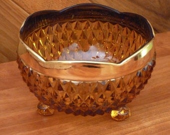 Amber-colored Glass Dish - Scalloped Rim in Gold, Footed - vintage, offered by MtnGlen