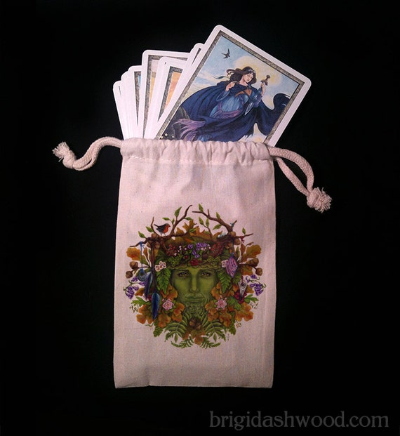 Greenman Tarot Bag -  Pagan Wiccan  - Brigid Ashwood