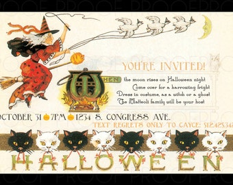 Vintage Witch Halloween Invitation Printable DIY