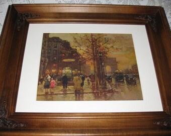 "VINTAGE FRAMED PARIS Street Scene 16 1/2"" X 19"""