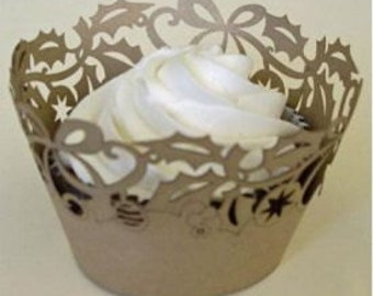 Holly Gold Cupcake Wrapper-Decorative Lace Cupcake Wrappers can be used to enchance traditional or decorated cupcakes