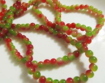 6mm Green and Red Jade Glass Beads - 40 QTY