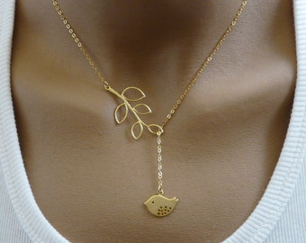 Bird and Branch Lariat , Branch necklace, Elegant necklace, Feminine necklace, Great gift
