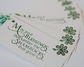 Shamrock Blessings Party Favor Tags Set of Eight, Shamrock Gift Tags, Celtic Wedding Favor Tags, Irish Blessing Tags