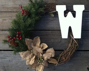 Rustic Christmas Wreath with Burlap Poinsettias and Greenery winter wreath holly berries grapevine wreath personalized wreath initial wreath