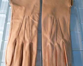 Soft Leather Gloves Size 6 - natural light brown