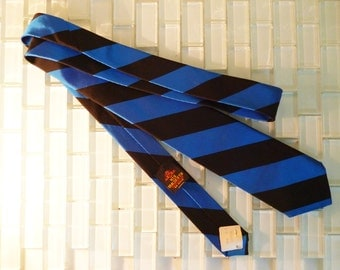 Electric Blue Skinny Tie 1960s Mad Men Black