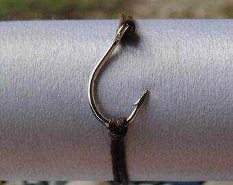 Hooked On You, Brown Corded Steel Fish Hook Bracelet