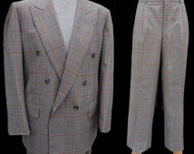 Ermenegildo Zegna Vintage Plaid Suit Peak lapels Gray Red Plaid  Whisper42 Ricky Bo VTG 70s 80s Double breasted Italy double pleats No cuff