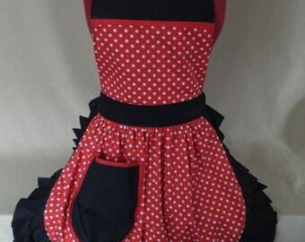 Retro Vintage 50s Style Full Apron / Pinny - Red & White Polka Dot with Black Trim