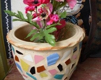 Mosiac Flower Pot Planter Terracotta Outdoor and Garden Decor Handmade
