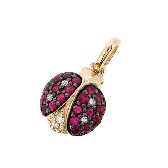 Fine 0 38ct Red Ruby Amp Diamond Ladybug Charm Pendant Necklace