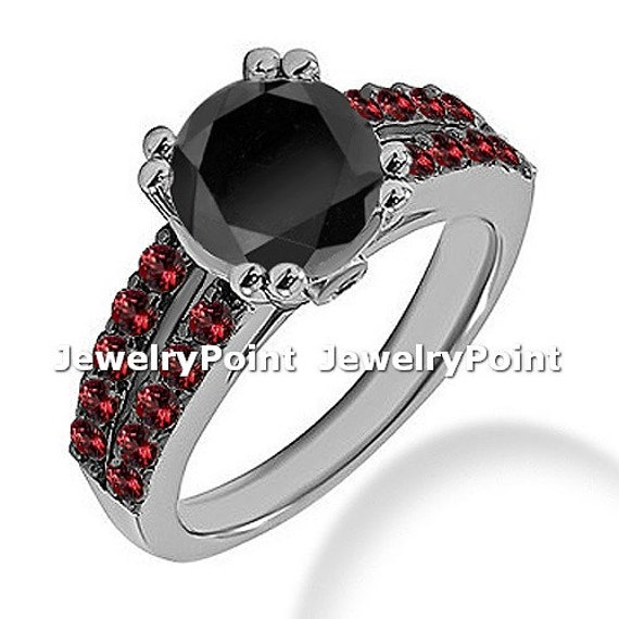 2 90ct Black Diamond & Ruby Engagement Ring 14k by JewelryPoint