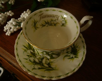 Royal Albert Bone China  Teacup and Saucer Flower of the Month Series JANUARY Snowdrops 1970s