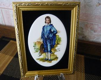 Framed Staffordshire Ceramic Tile BLUE BOY by Grainsborough