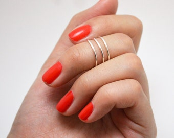 Silver Stacked Above the Knuckle Midi Ring Set (3)