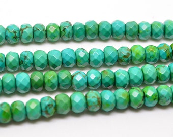 """16""""   6mm  Yellow   Green   Turquoise    Faceted    Rondelles   Beads"""