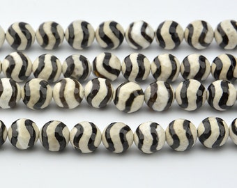 "15""  Black  And  White  Zebra  Vein  Tibetan  Agate dZi  beads  faceted   10mm"