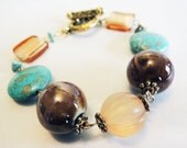 Turquoise, Gold, and Brown Beaded Bangle Bracelet Handmade by Lindsey - Boho Chic - Vintage Inspired - Beach Inspired - Turquoise Gemstones