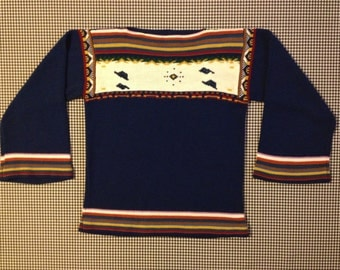1970's, bell sleeve sweater, in navy blue, with earthtones, by Sunny-Tops