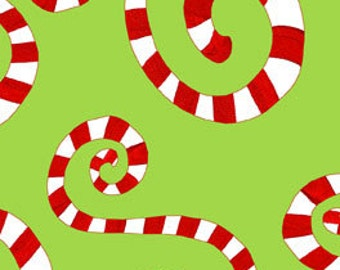 Candy Cane Curlicues - Green by In The Beginning Fabrics - Yardage