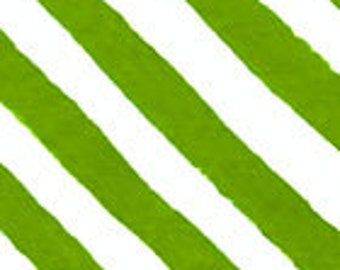 Diagonal Stripes, Green or Black and White by In The Beginning Fabrics - Yardage