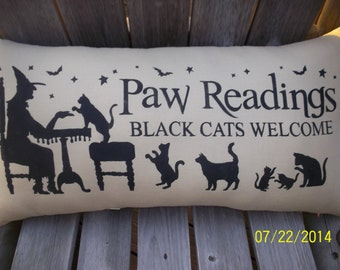 Paw Readings Black cats Welcome Primitive Stencil Handmde Pillow
