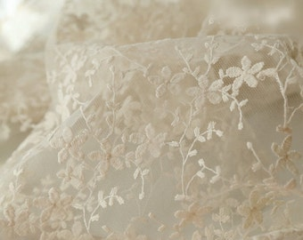 SALE Ivory Bridal Lace Fabric, Retro Cotton Floral Embroidered Lace, Chic Wedding Dress Lace, Veil Lace Fabric, fabric by yard