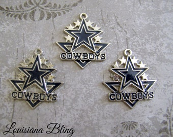 3 Pieces Cowboys Pendant Charms 34x35mm Silver and Blue Finish 9-21-3