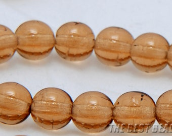 30pcs Light Brown Round Czech Glass Pressed Beads 6mm