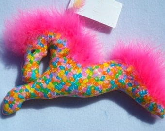 Easter basket, horse, jelly beans, fabric and feathers pink,