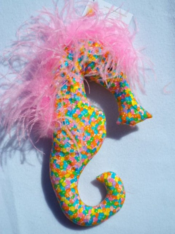 Cape Cod seahorse, Easter, decor, ornament, decoration, seahorse, pastel, jelly beans