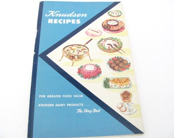 Vintage Recipe Booklet, 1950s Knudsen Dairy Cookbook, Pamphlets, 1950s Dairy Recipes