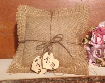 burlap ring bearer pillow, rustic wedding pillow, country wedding decor