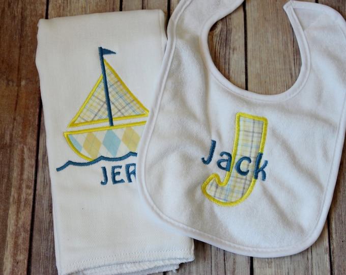 Monogrammed Baby Boy Sailboat Bib and Burp Cloth, Personalized Sailboat Burp Cloth, Monogrammed Bib, Baby Gift, Baby Shower, Custom Baby