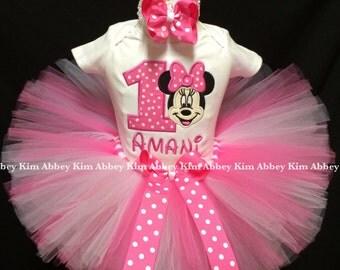 Minnie mouse tutu set age name pink