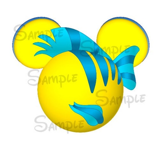 Flounder Inspired Mickey Head Digital Printable File Diy