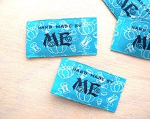 Hand Made By ME Embroidered Sew On Label Turquoise Blue with White Needles and Thread Motif- 2 Label Set