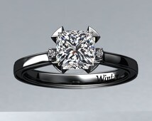 Victorian inspired 14k black gold Engagement Ring Solitare Ring 1.25 ct VVS Princess Cut White Sapphire W27WS14BK