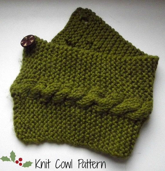 Cowl Knitting Pattern For Beginners : Items similar to Beginner Knit Cowl- PDF Pattern on Etsy