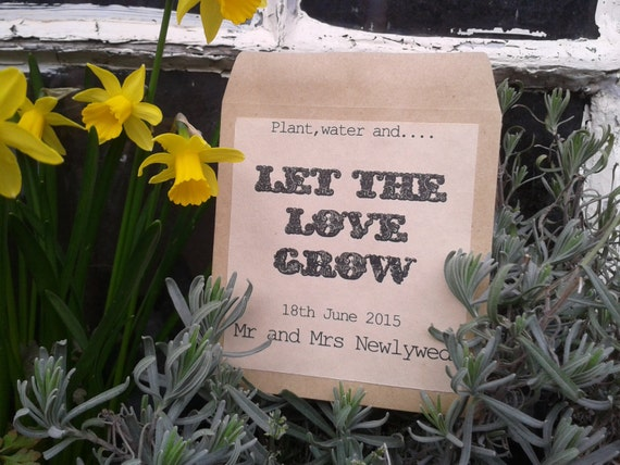 vintage personalised Let the love grow wedding favour/favor seed packet envelopes