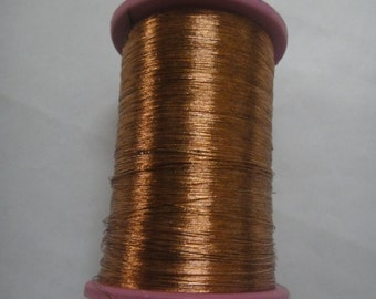Antique Copper - 35 gms Spool of  Metallic Thread / Yarn - For Crochet Sewing Embroidery Artwork Knitting DIY