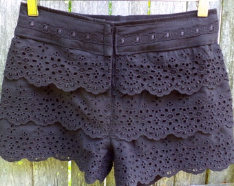 Summer Shorts - High Waisted - Black Eyelet - Upcycled, Recycled, Repurposed Clothing - Size 4