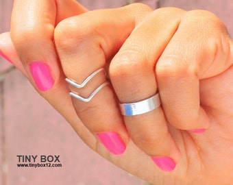 3 Chevron Above  Knuckle Ring -  Knuckle Rings - Cuff Midi Rings - 925 Silver Filled Stacking Ring - Set of 3 Stacking Rings